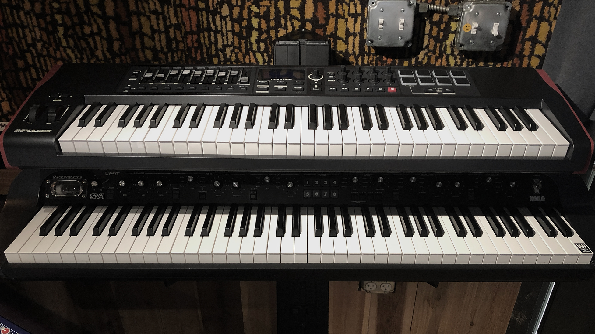 Novation Impulse 61 Controller above the Korg SV1 73 weighted key keyboard