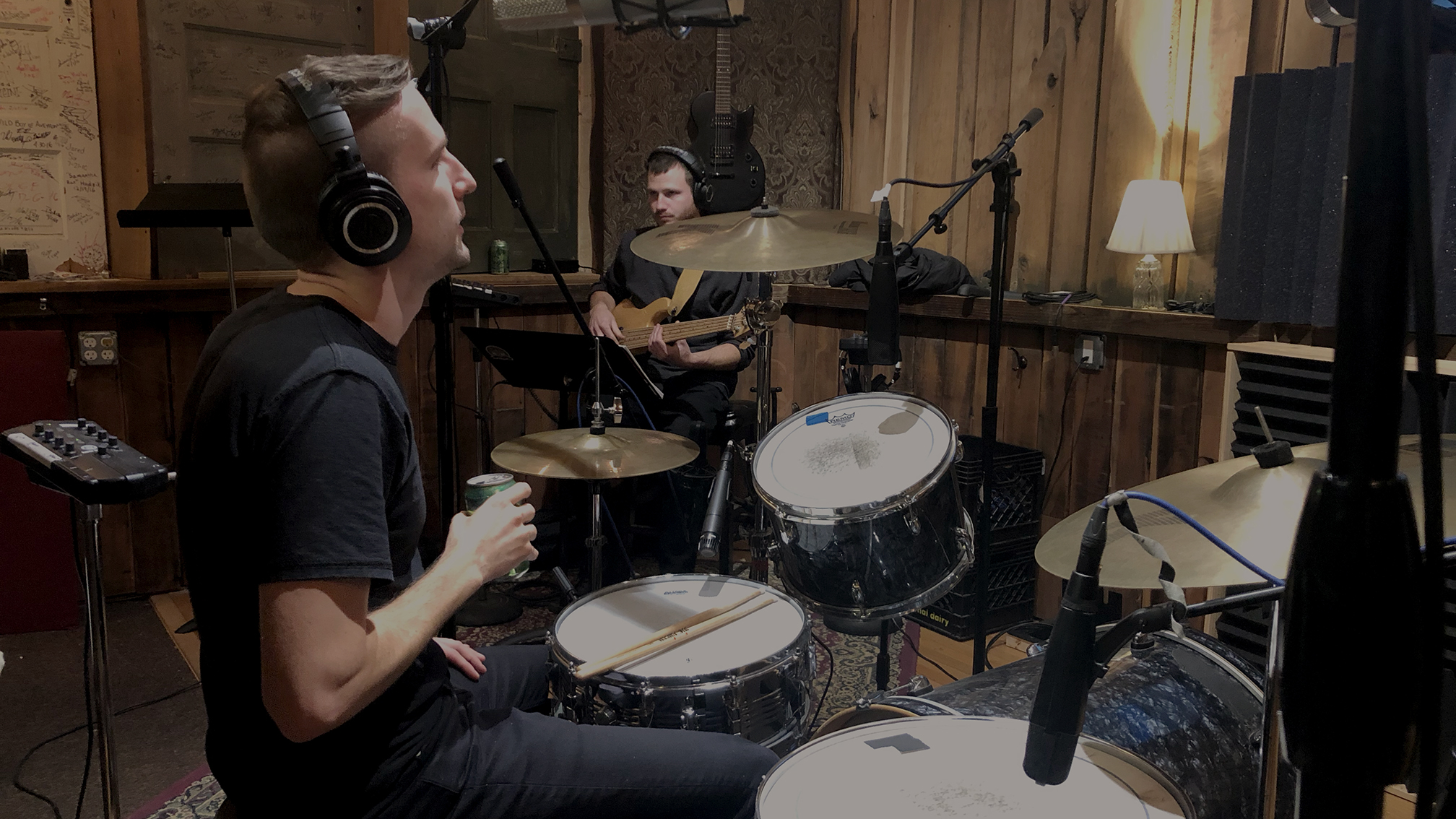 Jesse and Kevin working out parts in the live room