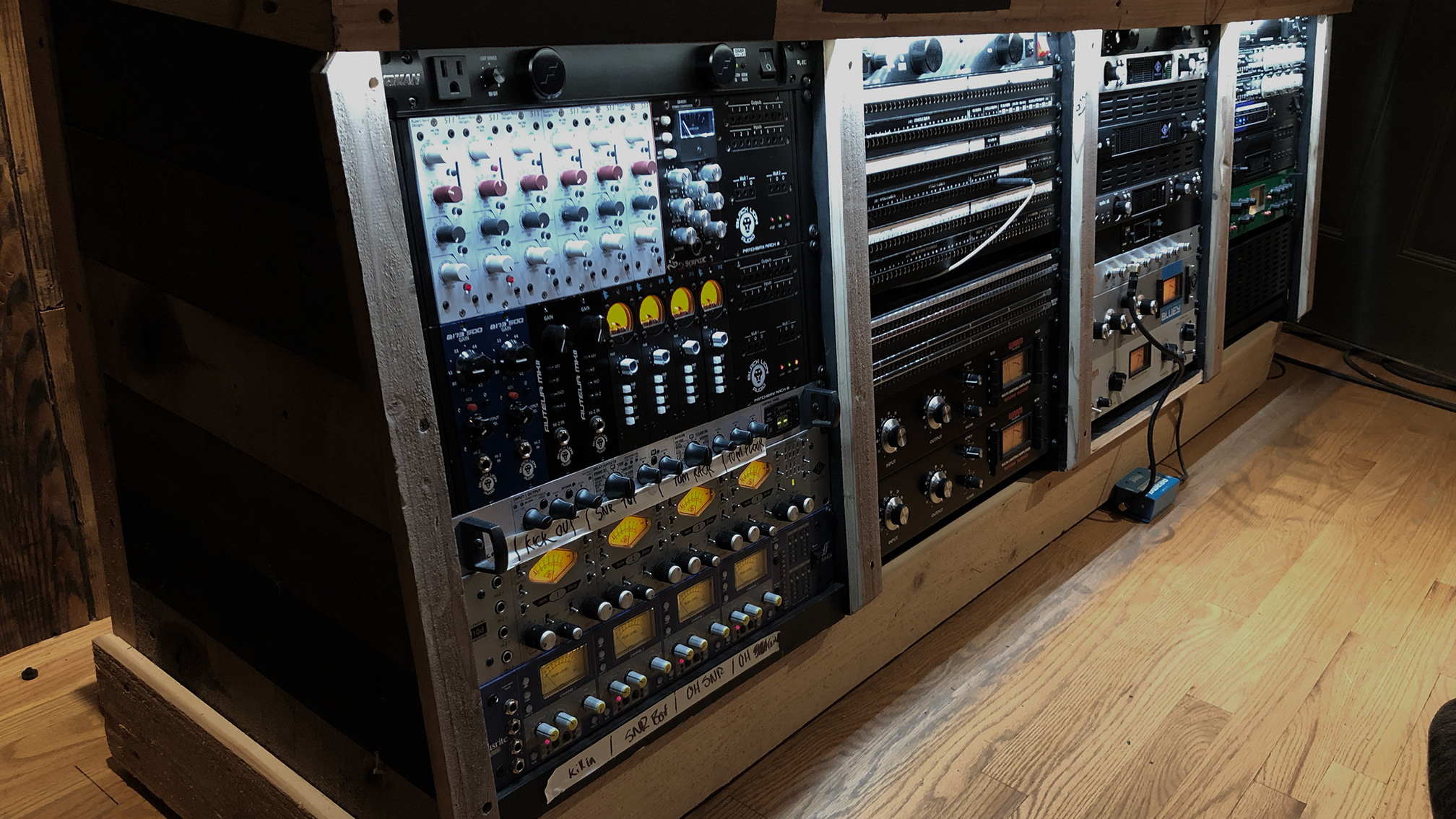 Neve end of the control room rack